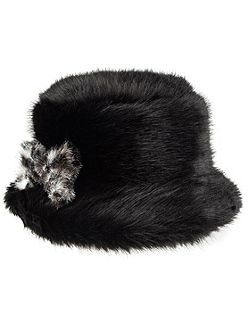 Womens faux fur bucket hat with bow
