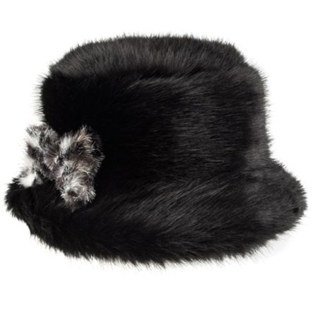 Dents Womens faux fur bucket hat with bow