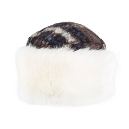 Dents Women`s cossack hat with faux fur trim