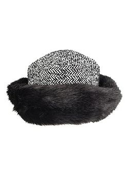 Womens tweed hat with faux fur brim