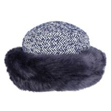 Dents Women`s tweed hat with faux fur brim