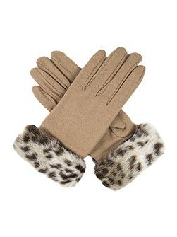 Womens gloves with faux fur cuff