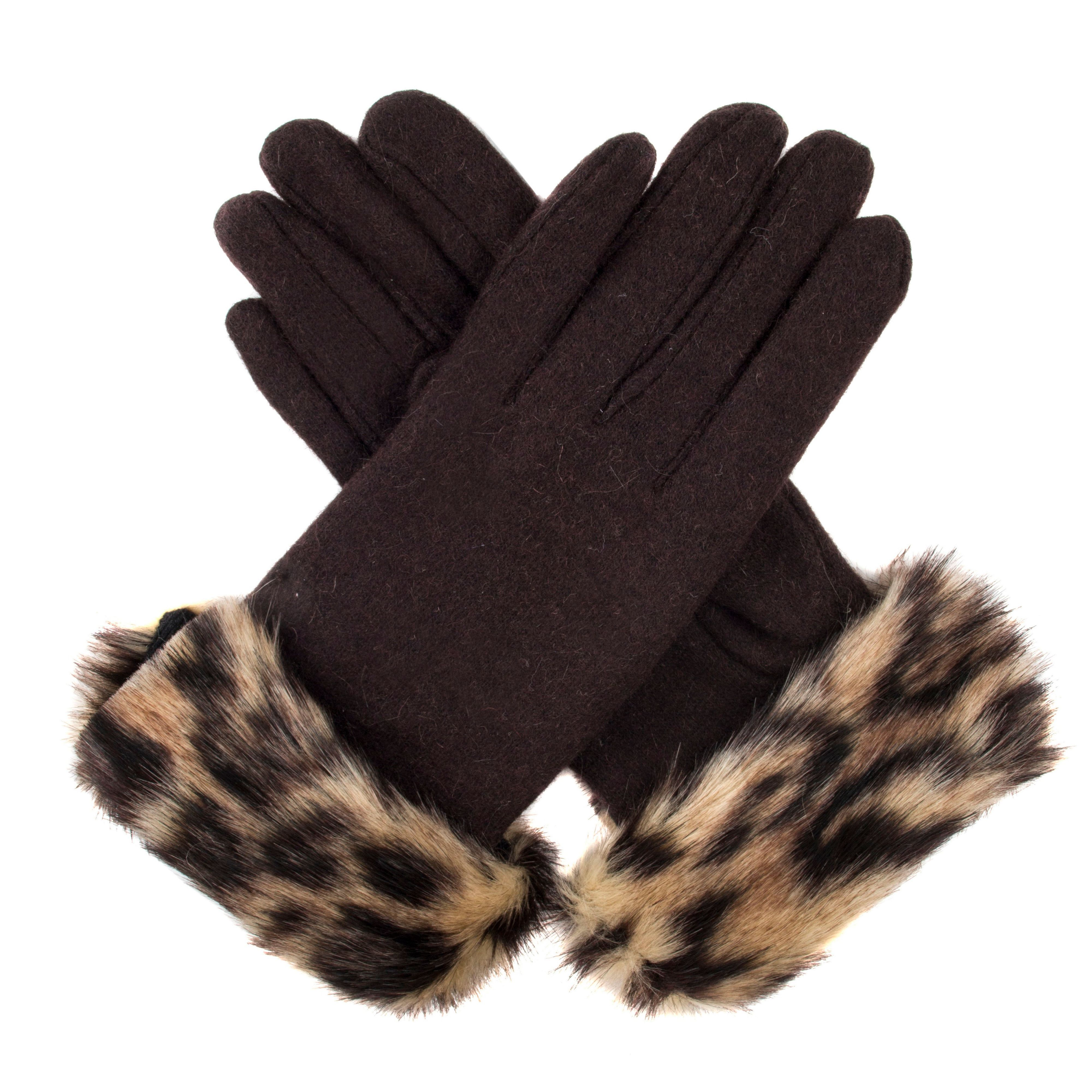 Vintage Style Gloves Dents Womens gloves with faux fur cuff Chocolate £12.80 AT vintagedancer.com
