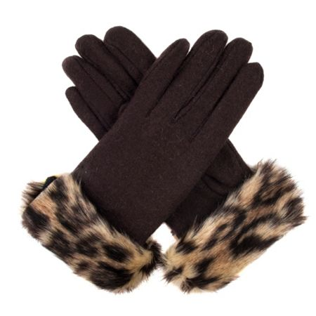 Dents Womens gloves with faux fur cuff