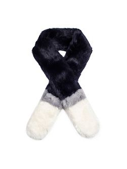 Womens three colour faux fur scarf
