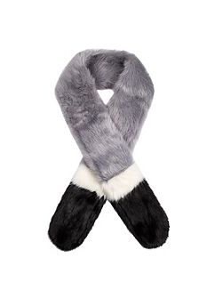 Women`s three colour faux fur scarf