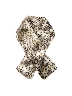 Women`s animal print faux fur scarf