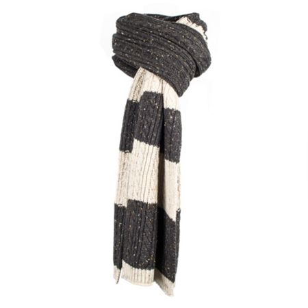 Dents Mens donegal cable knit scarf