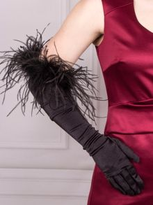 Dents Long evening glove, Ostrich feather trim