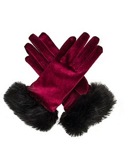 Ladies velvet glove with faux fur cuff