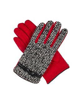Womens herringbone tweed gloves