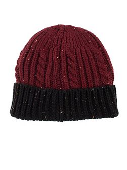 Mens donegal cable knit hat