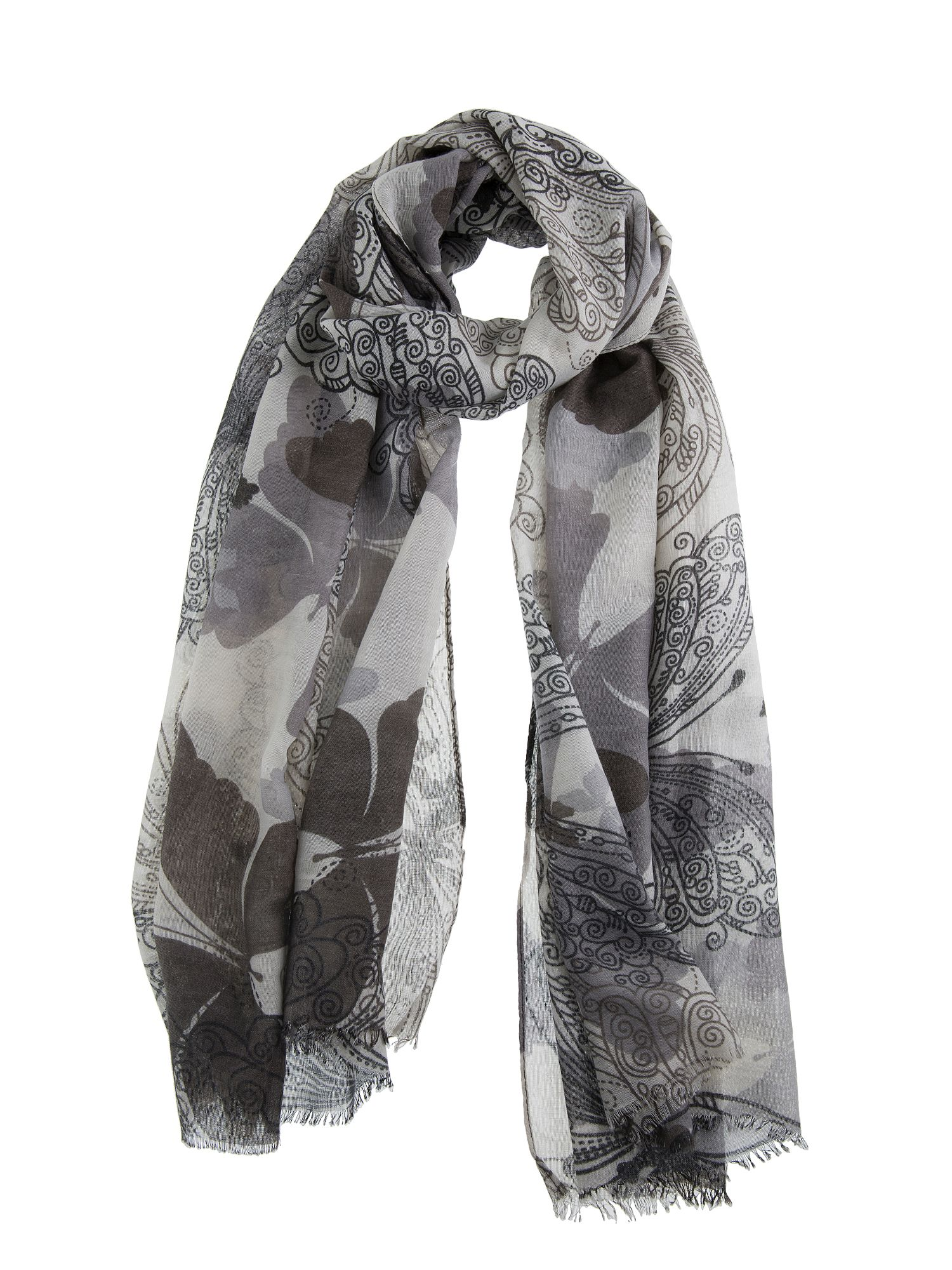 Dents Large Butterfly Print Scarf, Grey