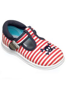Boys white and red canvas shoe