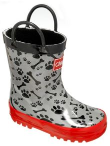 Boys paw and bone print wellingtons