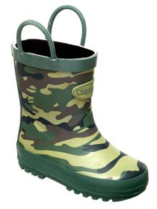 Boys camouflage print wellingtons