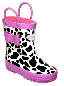 Girls cow print wellingtons