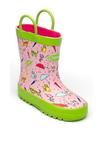 Girls pink raincats wellingtons