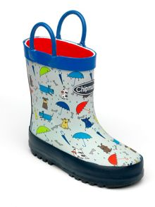 Boys blue raindogs wellingtons