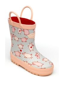 Girls pig patterned wellingtons