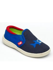 Boys Shark Navy Canvas Shoe.