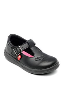 Girls Esme Black Leather School Shoe.