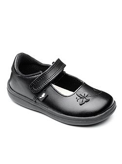 Girls Paige Black Leather School Shoe.