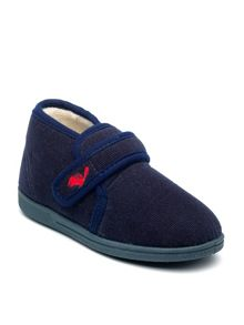 Boys Charles navy slipper.