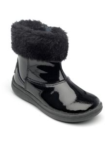 Girls Juno black patent leather boot