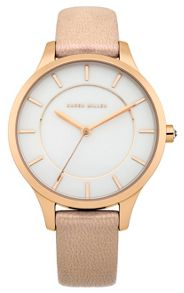 Ladies beige strap watch