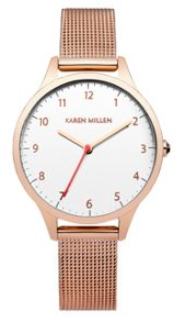Karen Millen Ladies  gold tone mesh watch