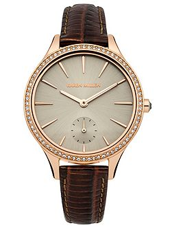 Ladies brown strap watch