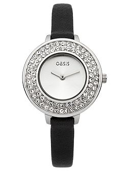 Ladies black strap watch