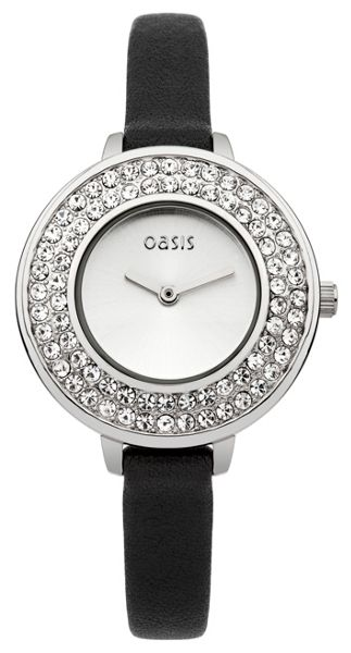 Oasis Ladies black strap watch