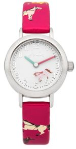 Joules Girl`s pink silicone strap watch
