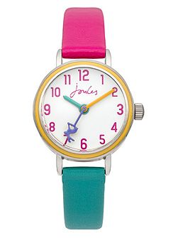 Girl`s pink and blue strap watch