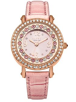 Ladies metallic strap watch