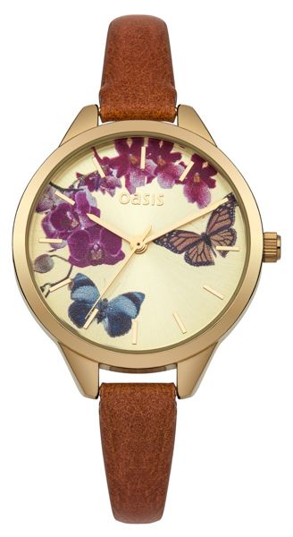 Oasis Ladies tan strap watch