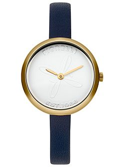 Ladies navy leather strap watch