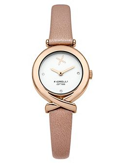 Fiorelli Ladiespink leather strap watch