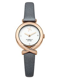 Ladies grey leather strap watch