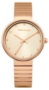 Karen Millen Ladies rose gold tone bracelet watch