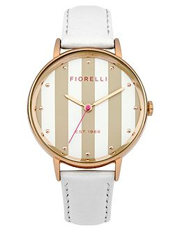 Ladies white leather strap watch