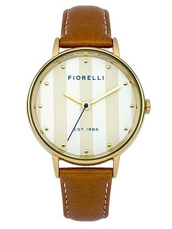 Ladies tan leather strap watch