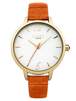 Ladies orange strap watch
