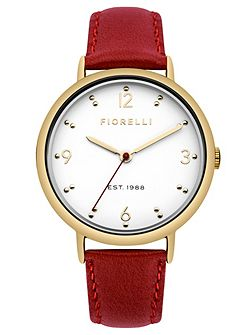 Ladies red leather strap watch