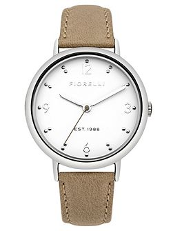 Ladies taupe leather strap watch