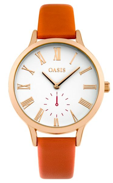 Oasis Ladies orange strap watch