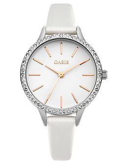 Ladies white strap watch