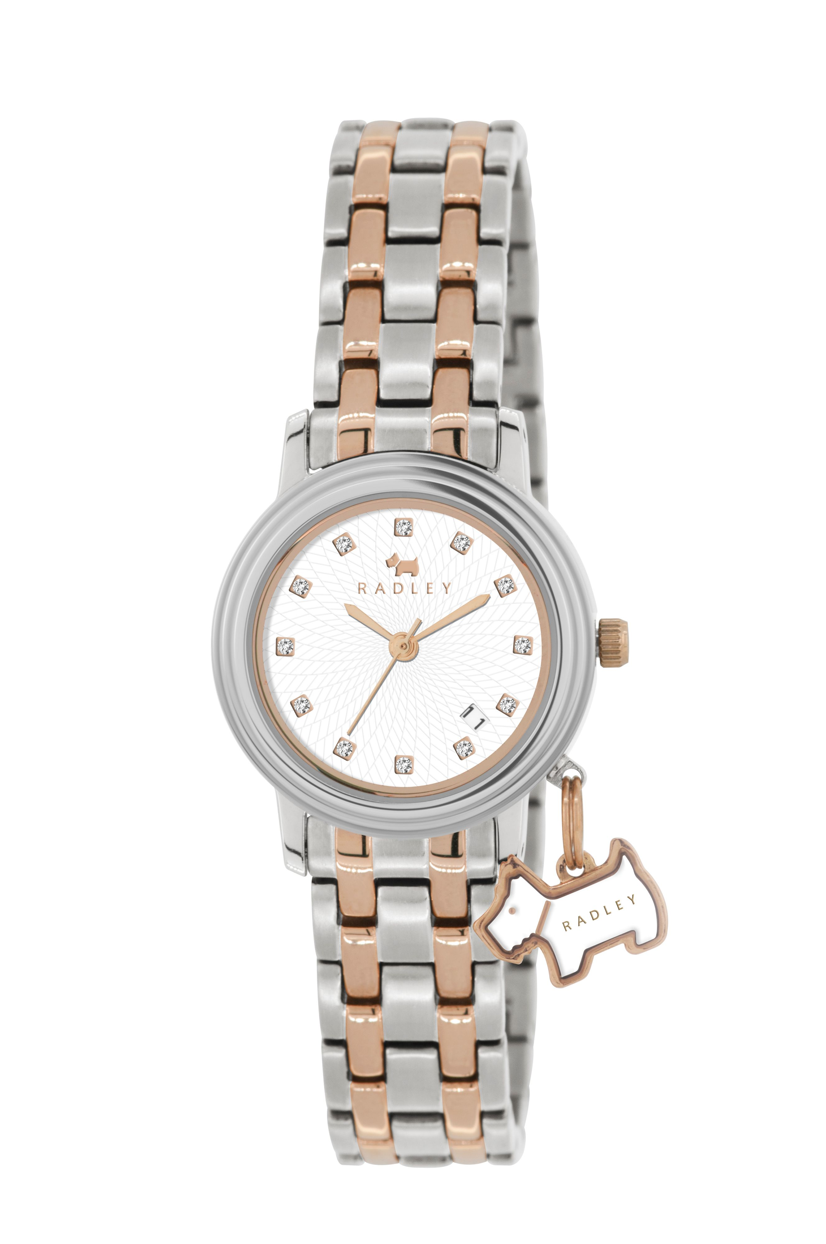 Radley two tone hanging dog charm bracelet watch